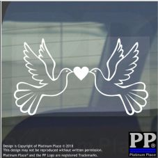 1 x Doves-Vinyl Sticker-Car Window Graphic Sign Animal,Bird,Fly,Wings,Heart,White